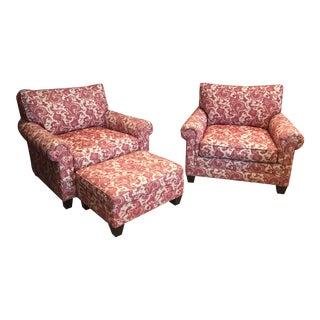 Traditional Custom Arhaus Burgundy Upholstered Club Chairs and Ottoman - 3 Piece Set
