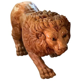 North Carolina Carved Pine Carousel Style Lion For Sale