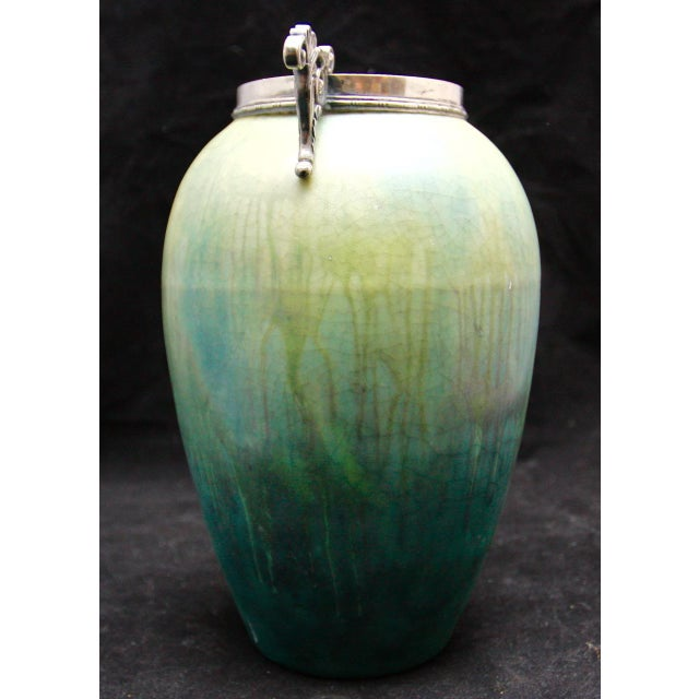 French Art Nouveau Cucumber Glaze Urn With Sterling Rim and Handles Attributed to Eugene Baudin - Image 5 of 8