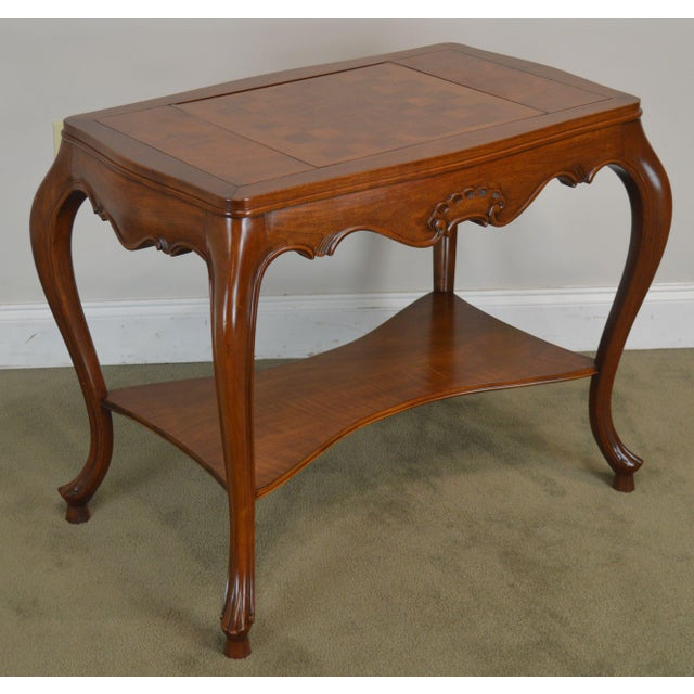 High Quality Italian Made Walnut Parlor Table with Inlaid Checker Board Top