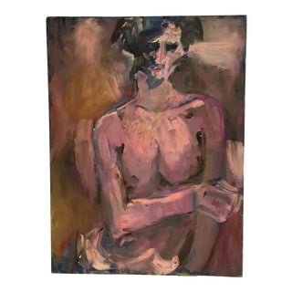Vintage Nude Woman Large Painting