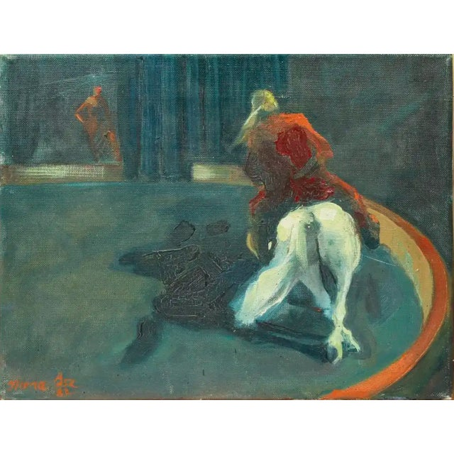 """1982 Oil Painting """"Circus Horse and Rider"""" For Sale - Image 4 of 4"""