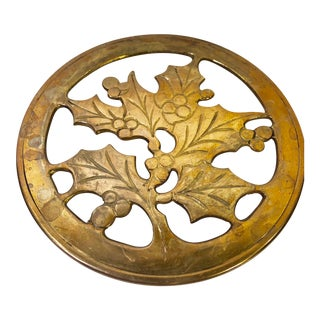 Early 21st Century Vintage Brass Christmas Holly Berries Trivet For Sale