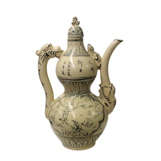 Chinese Oriental Ceramic Cream White Outline Graphic Gourd Shape Jar For Sale