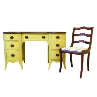 1940s Vintage Citron Painted Mahogany Desk & Chair - 2 Pieces For Sale
