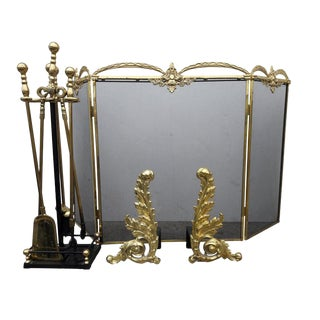 French Louis XV Style Fireplace Screen Accessories French Andirons Andirons French Rococo Gilt Fireplace Tools For Sale