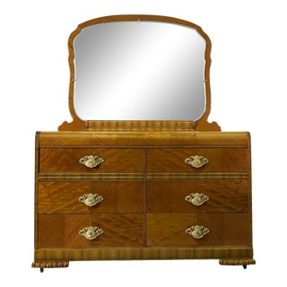 Art Deco Matchbook Veneer Dresser & Mirror With Zebra Wood Accents For Sale