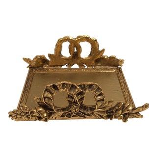 Vintage Gold Gilded Flowing Ribbon & Floral Desk Tray