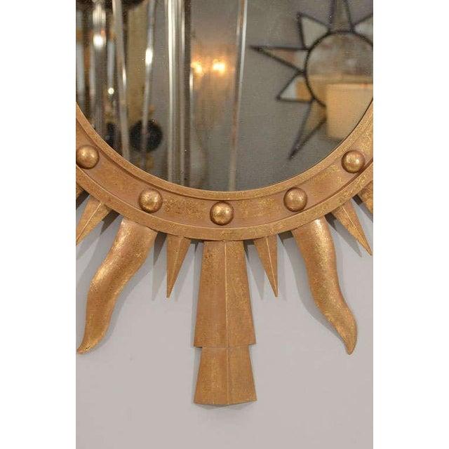 1980s Gilt Metal Sunburst Mirror For Sale - Image 4 of 7