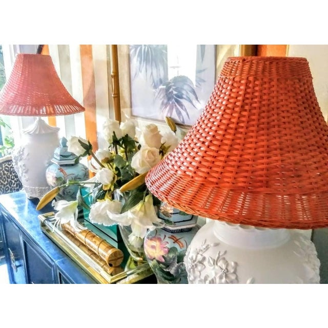A Pair Vintage Floral Gloss White Large Pagoda Table Lamps W/Bright Orange Wicker Shades For Sale - Image 9 of 10