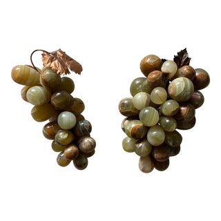 Vintage Mid-Century Alabaster Grape Clusters - a Pair For Sale