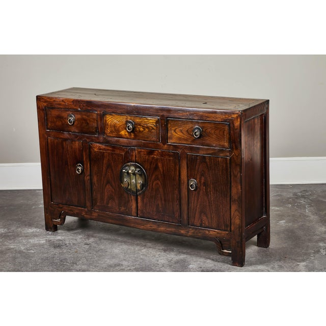 Asian 19th C. Chinese Three Drawer Elm Sideboard For Sale - Image 3 of 9