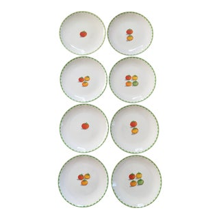 Vintage Hors d'Oeuvre/ Appetizer Plates With Tomatoes and Green Scalloped Trim - Set of 8
