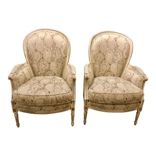 Currey & Co. Transitional Agate Fabric Dubarry Chairs Pair For Sale