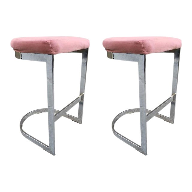 Pair of DIA Flat Bar Chrome Stools For Sale