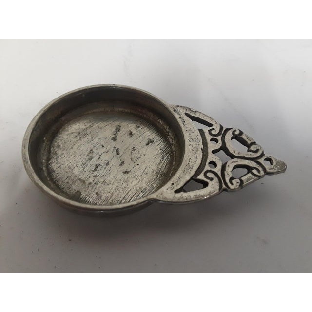 """Pewter wine sampler picked in the North West of France. 2.75 L x 1.75 L x 3/8"""" H Stamped """" Etain du grand duc AMT"""""""