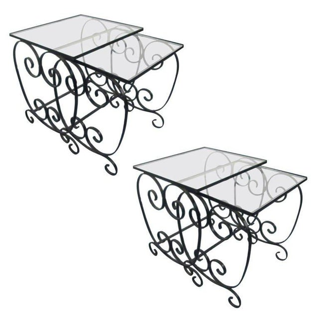 1950s Two Pairs of French Wrought Iron Nest of Tables For Sale - Image 5 of 5