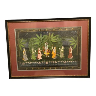 Asian Indian Painting on Textile For Sale