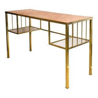 Brass Marble Top Writing Desk