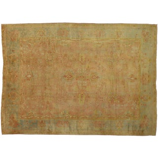 Antique Turkish Oushak French Rococo Style Area Rug - 10′1″ × 13′9″ For Sale