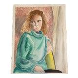 Image of Original Female Portrait Watercolor Painting For Sale