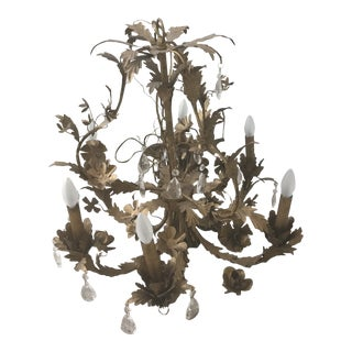 Italian Gold Gilt With Crystals Chandelier For Sale