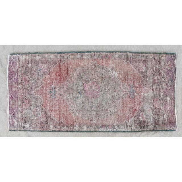 """Blue Early 20th Century Turkish Muted Rose/Pink Accent Rug - 1'9"""" X 3'8"""" For Sale - Image 8 of 10"""