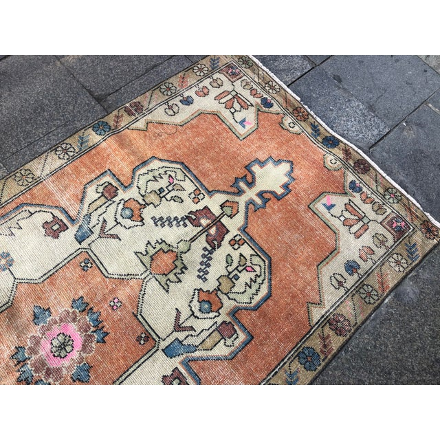 1960s Vintage Anatolian Floral Rug- 3′8″ × 7′9″ For Sale - Image 10 of 11