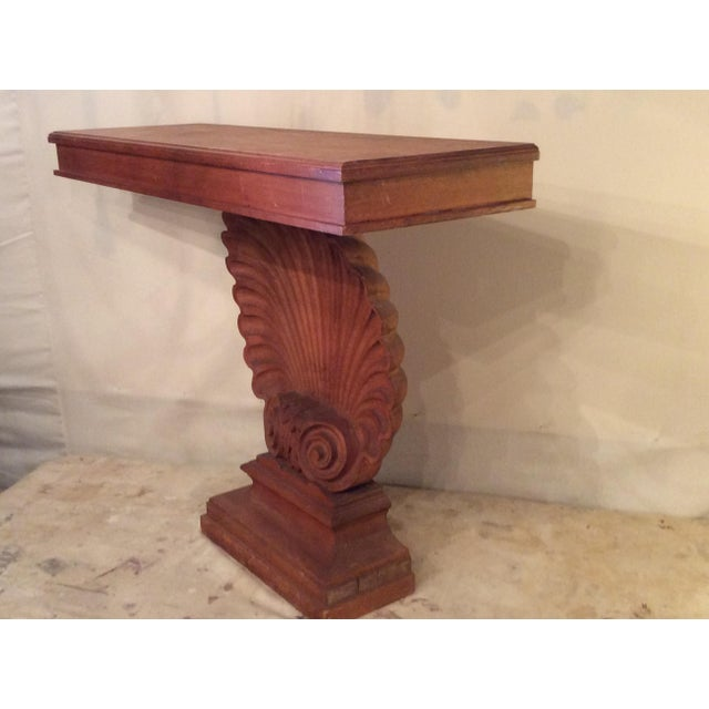 Nautical Nautical Edward Wormley Style Shell Hall Table in Raw Mahogany For Sale - Image 3 of 10