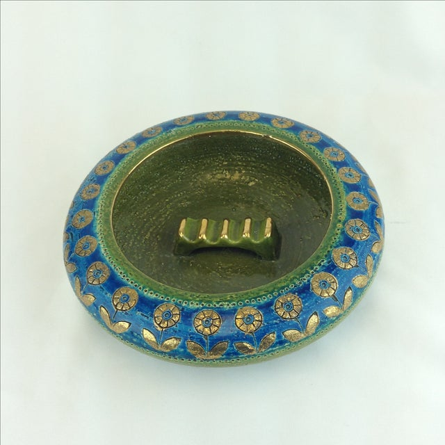 Large 1960's ceramic ashtray designed by Also Londi Bitossi for Rosenthal Netter. In bright turquoise and olive green with...