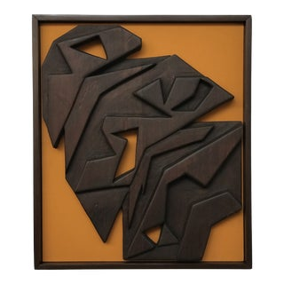 Mid Century Modern Abstract Wood Sculpture Wall Relief Hanging Art For Sale