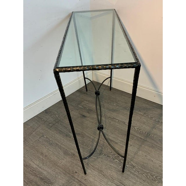 Metal French Modern Cast Bronze and Glass Console Table For Sale - Image 7 of 10
