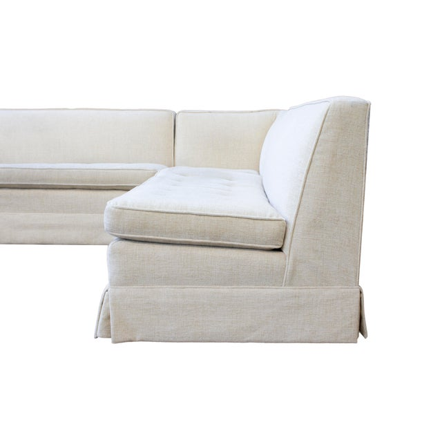 White Tufted 3 Piece Vintage Sectional Sofa- Recently Reupholstered For Sale - Image 8 of 13