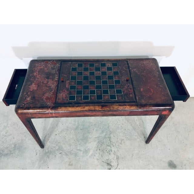 Mid-Century Modern Maitland Smith Distressed Leather Game Table For Sale - Image 10 of 13