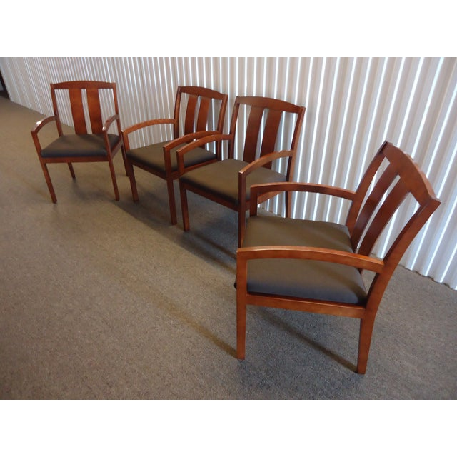 Kimball Dining Arm Chairs With Brown Fabric - Set of 4 For Sale - Image 13 of 13