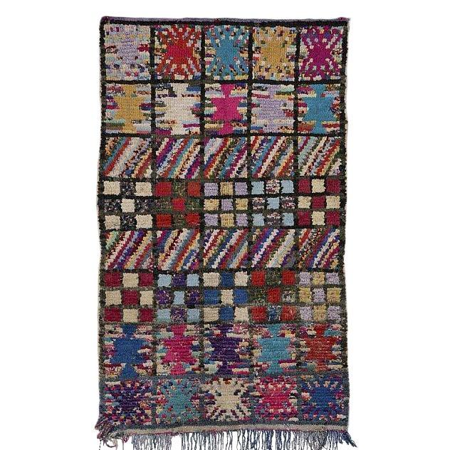 "Boucherouite Moroccan Carpet - 5'2""x3'2"" - Image 1 of 2"