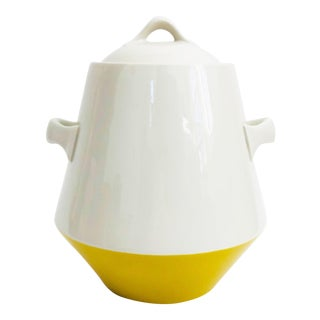 Mid Century White and Yellow Cookie Jar or Kitchen Canister For Sale