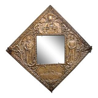 Victorian Embossed Copper Patriotic Mirrored Coat Rack For Sale