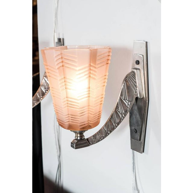 Pair of Art Deco/Skyscraper Style Nickel and Frosted Rose Glass Sconces - Image 5 of 8