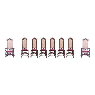 English Jacobean Walnut Cane Seat Chairs - Set of 8 For Sale