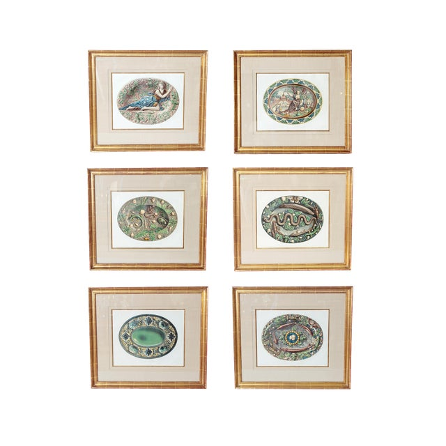 Set of Six (6) Hand-Colored Palissy Ware Lithographs by Rose-Joseph Lemercier For Sale