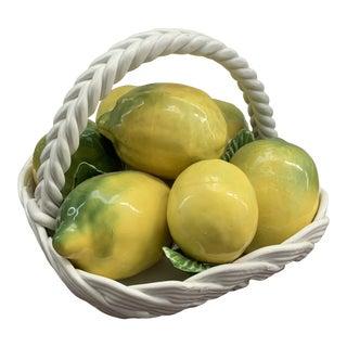 Vintage Capodimonte Lemon Basket For Sale