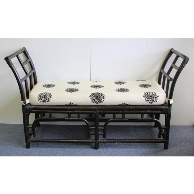 Bamboo Bamboo & Rattan Chinese Chippendale Bench For Sale - Image 7 of 7