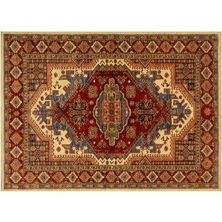 Super Kazak Garish Brad Ivory/Red Wool Rug - 5'0 X 7'0 For Sale