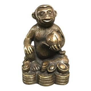 Chinese Art Bronze Lucky Charm Monkey With Coins For Sale