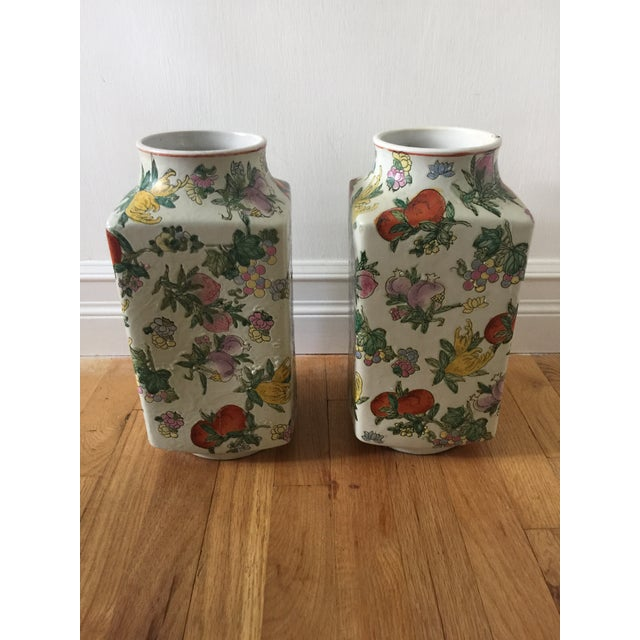 Asian 1970's Oriental Exotic Fruit Painted Vases - a Pair For Sale - Image 3 of 13