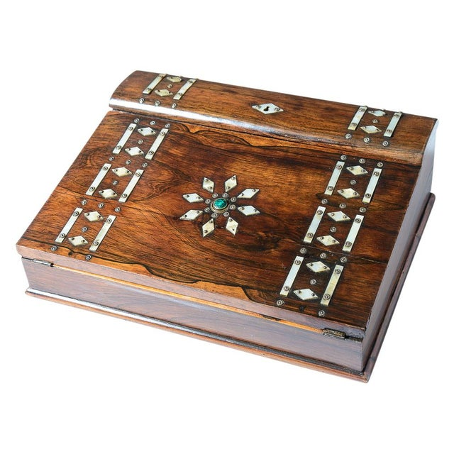 Mid 19th Century Vintage Rosewood & Mother Pearl Writing Slope Box For Sale - Image 10 of 10