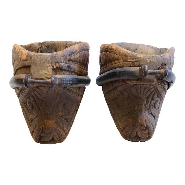 Pair of Carved Wooden Stirrups For Sale