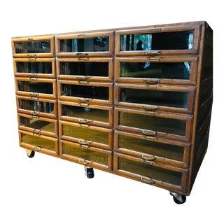 Vintage Oak Wood Shop/Haberdashery Storage Cabinet For Sale