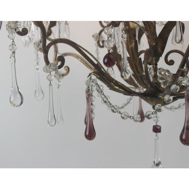 Antique Italian Gold Leaf Crystal Chandelier - Image 8 of 10